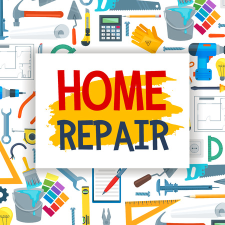 Home repair and renovation, construction tools. Vector carpentry hammer or saw, electric drill or screwdriver and bolts, trowel and paint brush or woodwork grinder
