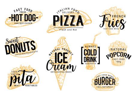 Letras de comida rápida de bocadillos de comida rápida. Menú de cafetería, restaurante o bistró. Boceto de vector sándwich de hot dog, pizza italiana o papas fritas y donut o postre helado y bebida, palomitas de maíz y pita o hamburguesa