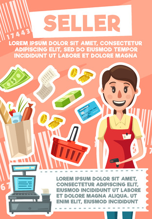 Seller profession poster of saleswoman, retail trade. Vector cartoon design of woman or girl in shop apron and bar code scanner, grocery in cart or basket on supermarket cash desk