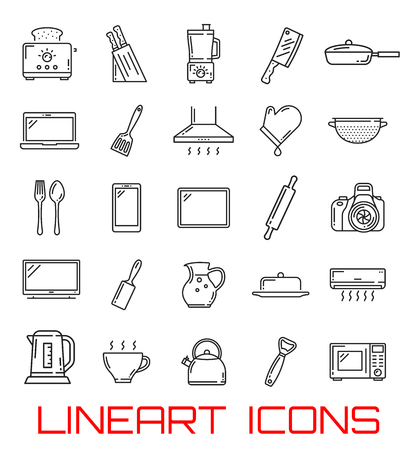 Home utensil and electronic appliance icons. Vector thin line kitchen cutlery, toaster or mixer and grate, photo camera or smartphone tablet, air conditioner and electric pot or microwave oven Illusztráció