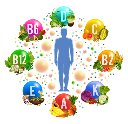 Vitaminen en mineralenpillen in voeding, gezonde voeding. Vector menselijk lichaam met multivitaminen in fruit, groenten of salades en champignons, granen en noten of bonen en bessen