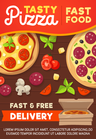 Pizza poster, Italian pizzeria restaurant or bistro cafe delivery. Vector design of pizza and ingredients of cheese, salami sausage or pepperoni, mushroom and basil. Fastfood theme