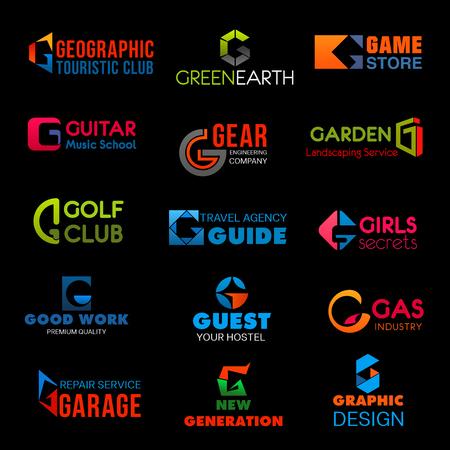 Identidad de marca de la letra G o diseño corporativo de la empresa en club de turismo o tienda de juegos y ecología de tierra verde. Vector G símbolo de ingeniería, club de golf o albergue y hotel y agencia de diseño gráfico