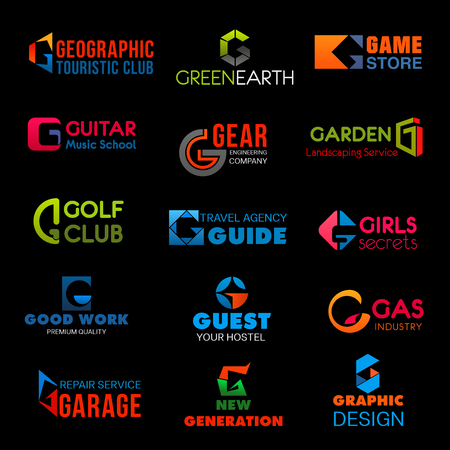 Letter G brand identity or company corporate design in tourism club or green earth ecology and game store. Vector G symbol of engineering, golf club or hostel and hotel and graphic design agency