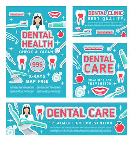 Dental care, dentist clinic. Vector design of doctor and exodontia items of implants and orthodontic braces, pills or toothbrush and syringe with mirror, white smile teeth