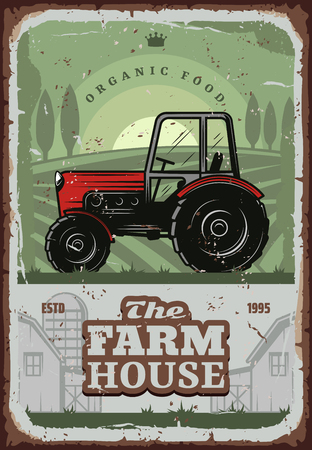 Farm house, farmer agriculture household. Vector vintage design of farm tractor or harvest combiner in on village arable field with wheat or rye grain barn