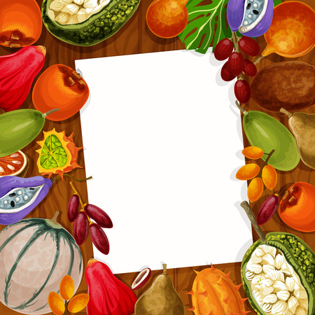 Recipe note or memo reminder blank of exotic tropical fruits. Vector design of kiwano, bael pear or star and mammee apple and loquat, persimmon and champakka or akebia fruit with marang and gandaria Standard-Bild - 109985273