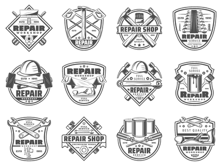 Work tools icons, home repair workshop or store. Vector construction tools of hammer, saw or ruler and spanner with paint brush, grinder plane and screws. House renovation and carpentry theme