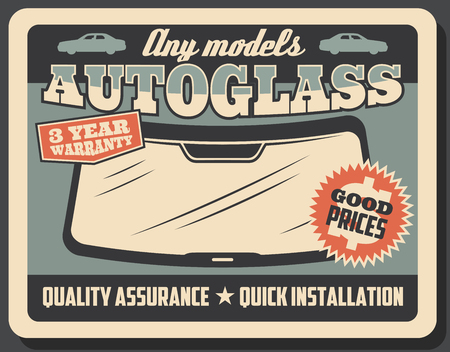 Car service retro poster, autoglass or windshield replacement and installation. Vector vintage signboard design, high quality and fast mechanic work with warranty assurance 일러스트