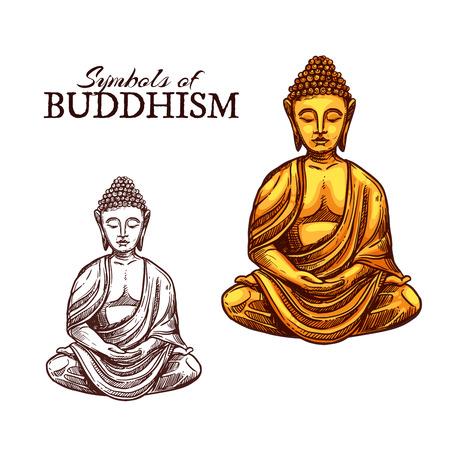 Icono de vector de estatua de Buda de oro en espíritu de meditación Zen, monasterio budista y signo religioso indio, chino o asiático. Símbolo del bosquejo de la religión del budismo