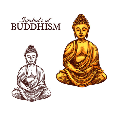 Vector icon of golden Buddha statue in Zen meditation spirit, Buddhist monastery and Indian, Chinese or Asian religious sign. Buddhism religion sketch symbol Vettoriali