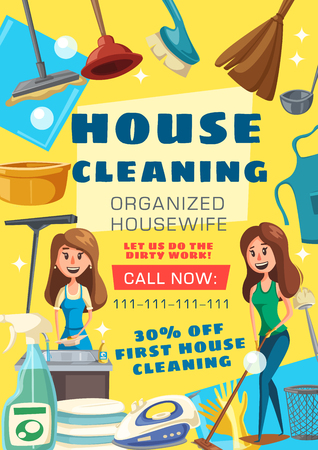 House cleaning service. Woman washing dishes on kitchen or mopping floor and clean with vacuum cleaner. Vector housewife with sponge and polisher or iron, detergent soap and broom