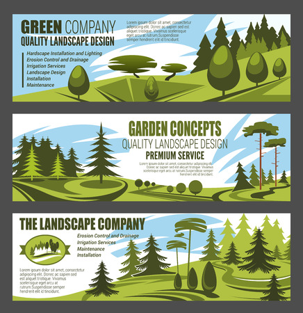 Landscape design premium service, urban horticulture and city eco gardening. Vector design of forest trees, parkland squares and parks. Green nature architect Иллюстрация
