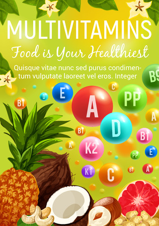 Multivitamin healthy food fruits and nuts. Vector vitamins and minerals pills in pineapple or grapefruit citrus, coconut or hazelnut and peanuts or cashew