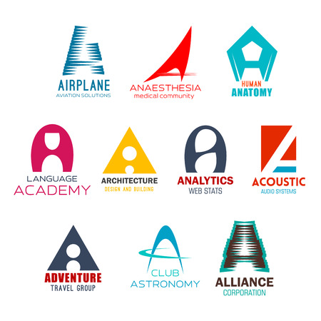 Letter A brand or company corporate identity design in aviation club, medical anatomy and anesthesia industry. Vector A abstract shapes of architecture design, audio store and adventure travel