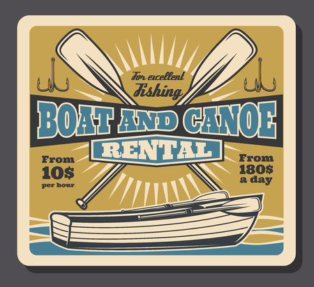 Fishing boat rental retro poster. Vector vintage design of fisher canoe with paddles and rod hooks, fisherman big fish catch and adventure Illustration