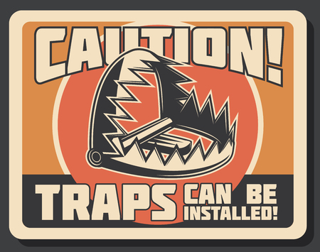 Hunter trap warning retro signboard, hunting open season. Vector vintage design of trap installed for wild animals in forest hunt for caution sign  イラスト・ベクター素材