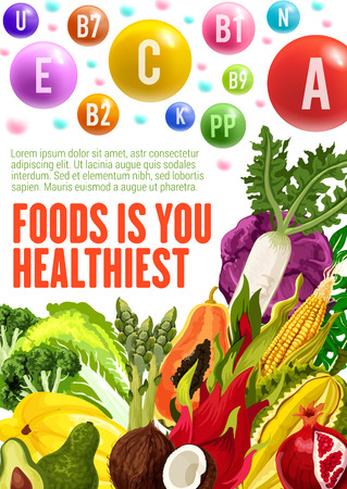 Vitamins and minerals, healthy food. Vector posters of multivitamins in fruits, salad vegetables and nuts of avocado, papaya or coconut and cabbage, radish or chicory and corn with pomegranate Illustration