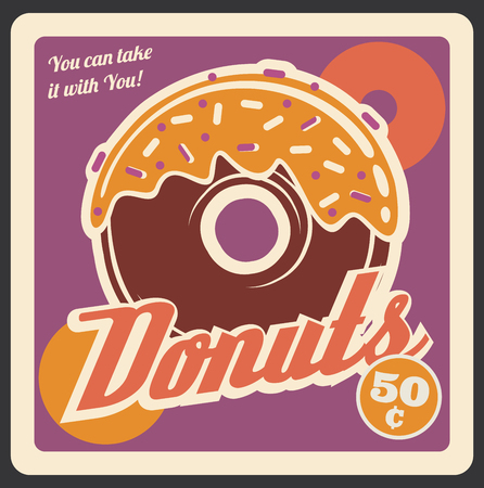 Donut retro poster, fast food restaurant or cinema bistro signboard. Vector vintage design of chocolate donut cake or dessert with candy. Ffastfood delivery or takeaway cafe menu theme