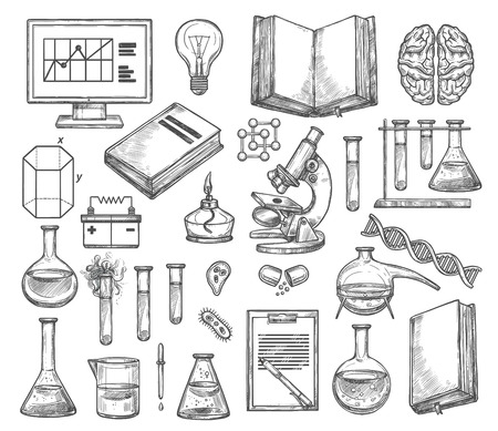 Science laboratory and research experiment sketch icons. Vector genetics DNA molecule, chemistry beaker or biology microscope and scientist book or human brain and lightbulb Stock Illustratie
