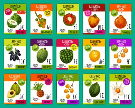 Exotic fruits price cards, farm market. Vector bergamot, mamonchillo and pu hala, kokona fruit, narangilla and cherimoya, sour apple and jambolan, lukuma, pandan and mombine, phyzalis and ban balan
