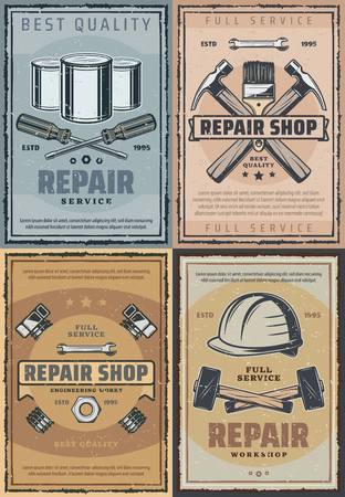 Repair service and tools shop retro design. Vector vintage design of screwdriver, screws or bolts and nuts, hammer and paintbrush or spanner and wrench. Construction and renovation theme