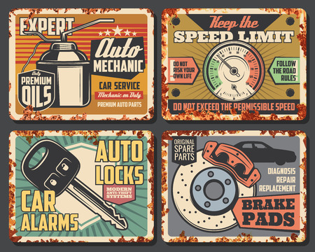 Car service and auto mechanic repair center signboard, vintage rust effect. Vector retro rusty posters of oil, car alarms and key replacement, dashboard tuning and brake pads. Spare parts store theme