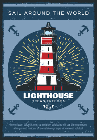 Lighthouse at sea or ocean vintage poster, seafarer safe sailing and travel adventure. Vector nautical retro design of ship safety light beacon, sailor navigation