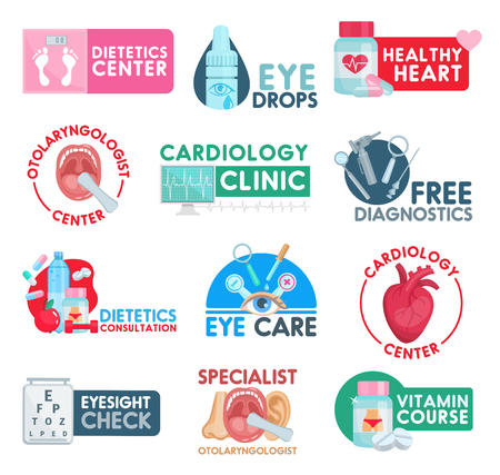 Medical clinic or healthcare medicine icons. Vector isolated cardiology heart pills, otolaryngologist and dietetics health center, ophthalmology diagnostics or doctor consolation and eyesight check