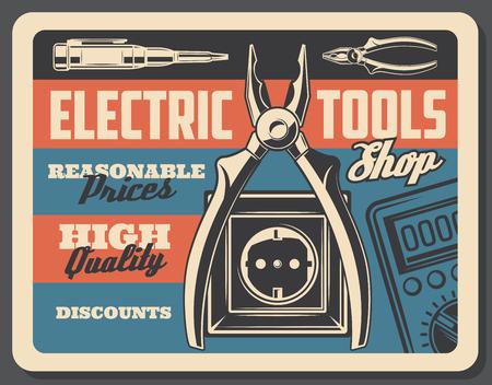 Cartel vintage de herramientas eléctricas, letrero de tienda de energía eléctrica y energía. Vector diseño retro de enchufe y enchufe eléctrico, probador de voltímetro y cortadores de alambre o amperímetro