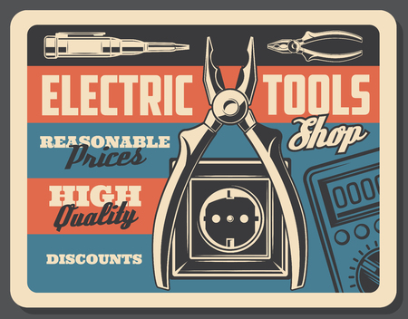 Electrical tools vintage poster, electricity power and energy store signboard. Vector retro design of electric plug and socket, voltmeter tester and wire cutters or ammeter Illustration