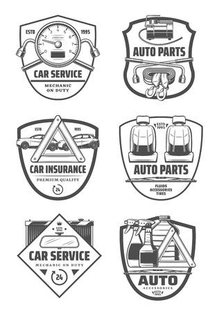 Autoservice of auto-onderdelen slaan pictogrammen op. Vector band pompen manometer en moersleutel, autostoelen en sleepgordel. Thema transportverzekering of mechanisch reparatiestation Vector Illustratie