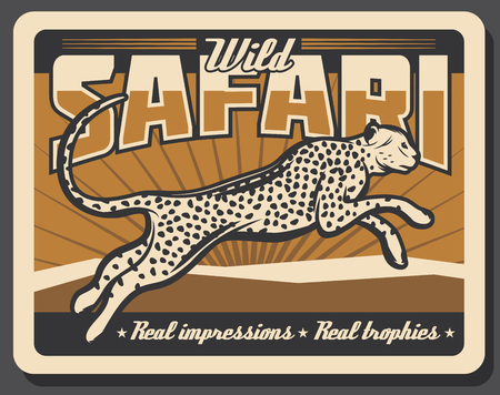 Hunting club retro poster of hunter open season and safari adventure. Vector vintage design wild animal hunt trophy, cheetah panther or leopard and cougar Illustration