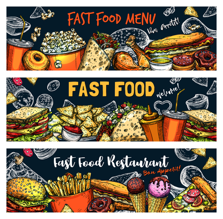 Fast food sketch of fastfood snacks and meals. Cafe, restaurant or bistro menu. Vector burger, hot dog sandwich or pizza and hamburger, Mexican tacos or chicken nuggets, fries and popcorn Vector Illustration