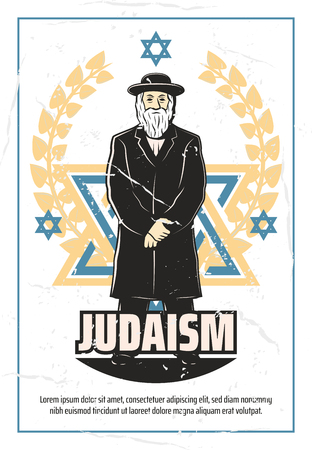 Judaism retro poster of Jewish symbols. Vector vintage design of Rabbi in traditional religious robe clothing on David Star and laurel wreath, synagogue or Jew religion community