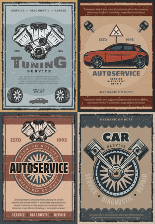 Car service and auto repair center, retro mechanic or garage station. Vector vintage design of engine motor tuning, tire pumping and fitting. Advertisement or spare parts store