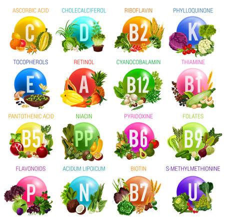 Vitaminen en mineralen in gezonde voeding van saladegroenten, fruit, noten, granen en bessen. Vector multivitaminen van ascorbinezuur, cholecalciferol of riboflavine en tocoferolen of cyanocobalamine