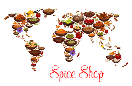 Spices and herbs on world map. Vector herbal seasonings and aroma condiments of vanilla, chili pepper or paprika and cinnamon with cloves seeds, ginger, curry or anise and turmeric with nutmeg 写真素材 - 109985291