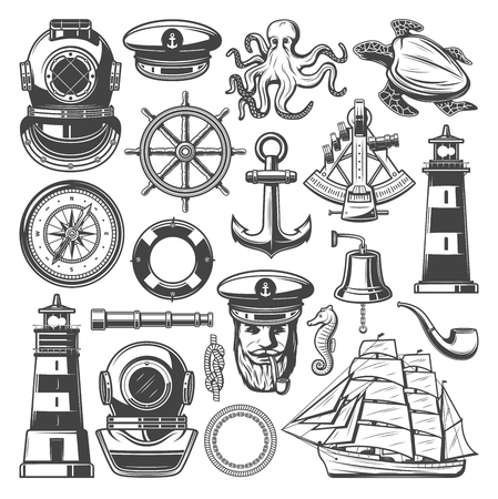 Nautische en mariene zeilen pictogrammen. Vector schets van zeevarende kapitein hoed, roer van het schip of anker op touw en vuurtoren, retro fregat boot en duiker aqualung, octopus of onderwater schildpad dier Vector Illustratie