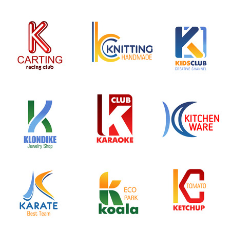 Letter K for brand identity design in carting or car racing sport club, handmade knitting salon and kids TV channel. Vector K symbol for jewelry shop, karaoke bar or kitchenware shop and karate team