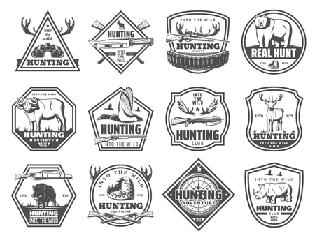 Hunting club icons, hunt open season or African safari adventure. Vector hunter binoculars, elk antlers or wild buffalo animal and rifle gun or trap for bear, rhinoceros or boar hog and duck Archivio Fotografico - 108295114
