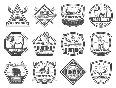 Icônes de club de chasse, chasse en saison ouverte ou aventure de safari africain. Jumelles de chasseur de vecteur, bois de wapiti ou animal de buffle sauvage et fusil ou piège pour ours, rhinocéros ou sanglier, porc et canard Banque d'images - 108295114