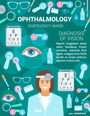 Ophthalmology clinic or medicine center and personnel. Vector design of ophthalmologist doctor, diagnostic and treatment items of glasses, optical test and lenses, eye dropper and pills