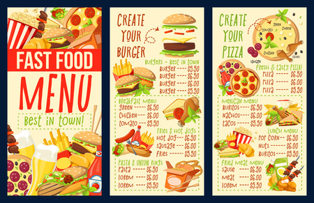Fast food menu of fastfood snacks and meals. Cafe, restaurant or bistro. Vector dollar price of burgers or hot dog sandwiches, pizza and hamburgers, chicken nuggets or fries and popcorn