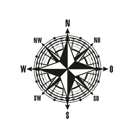 Nautical navigation compass or Rose of Winds. Vector marine and sailing cartography navigator with direction arrows to North, South, East and West Иллюстрация