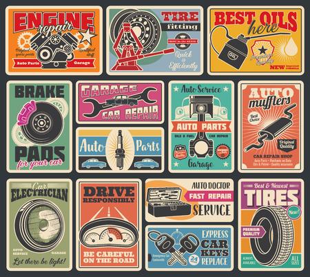 Servizio auto e insegna d'epoca centro auto. Vector design retrò di servizio olio motore auto, montaggio pneumatici o pompaggio e riparazione meccanica o negozio di pezzi di ricambio, chiavi, batteria o olio Vettoriali