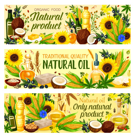 Natural cooking oils of vegetable, nuts and seeds. Farmer market products. Vector design of extra virgin olive, sunflower seed or coconut and flax or hemp oil bottles. Natural organic food theme