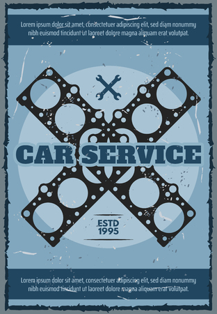 Car service or mechanic station and garage repair center vintage poster. Vector retro design of car engine or motor valve gasket and wrench tools, spare parts store signboard