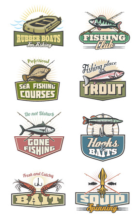 Fishing icons, professional fish catch or fisherman club and store. Vector design of crossed fisher rod, tackles and baits with hooks for flounder, shrimp or tuna