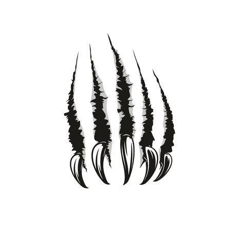 Claw scratches or wild animal paw torn marks. Vector sharp nails slashes or scars with laceration and torn shreds. Dangerous monster or beast attack theme, also tattoo design template 스톡 콘텐츠 - 109985298